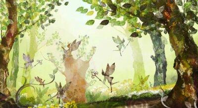 Fototapeta Wróżkowy las, drzewa, mgła, latające wróżki