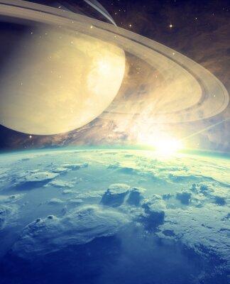 Fototapeta Wschód słońca nad horyzontem z gwiezdnych planet cuda.