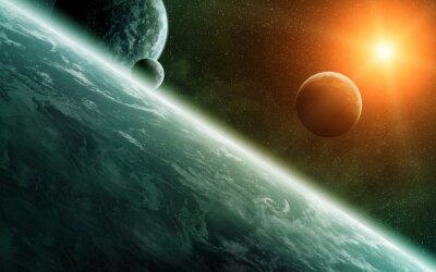 Fototapeta Wschód słońca nad planet w przestrzeni kosmicznej