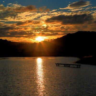 Fototapeta Wschód słońca nad wodami Seaton Mokradła w East Devon w Anglii