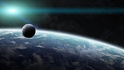 Fototapeta Wschód słońca nad Ziemi w przestrzeni