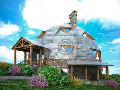 Fototapeta Wspaniała kopuła domu przyszłości. Zielony design, innowacje, architektura.