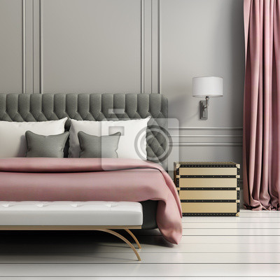 685e57fed54a5f Fototapeta Współczesna elegancki luksus blady czerwony i szary sypialni
