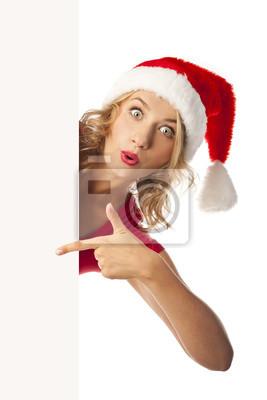 Wszystkiego najlepszego z okazji santa Dziewczyna z pustym hasłem w rękach