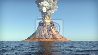 Fototapeta Wulkan erupcji na wyspie w oceanie 3d ilustracji