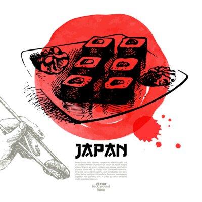 Fototapeta Wyciągnąć rękę japońskie sushi ilustracji. Szkic i akwarela