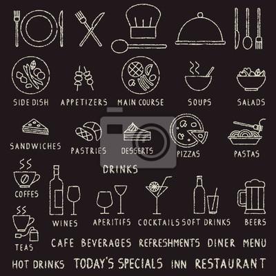 Wyciągnąć rękę kreda obrysu restauracja zarys ikon wektorowych na tablicy