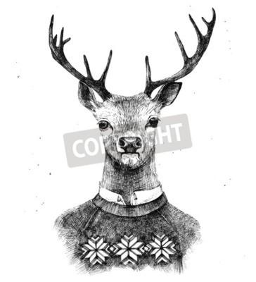 Fototapeta wyciągnąć rękę portret jelenia kneated sweter