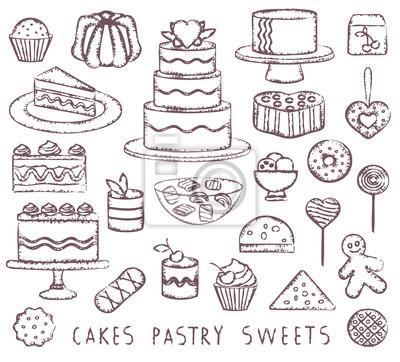 Wyciągnąć rękę rocznika symboli związanych słodycze