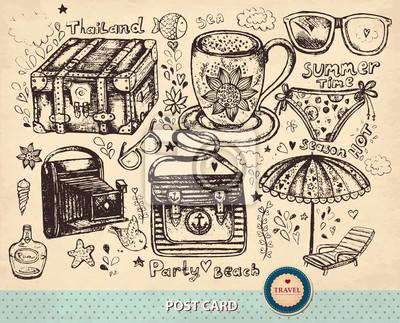 Wyciągnąć rękę Vector, karty z symbolami letnich podróży