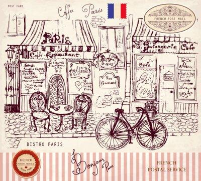 Wyciągnąć rękę Vector, karty z symbolami Paryża