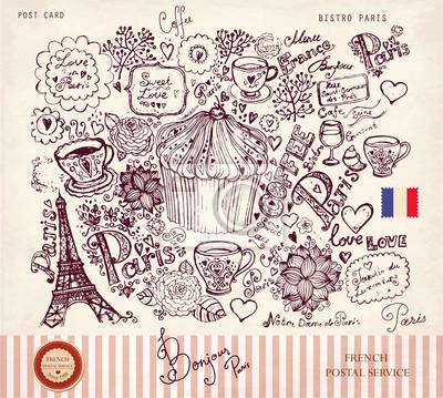 Fototapeta Wyciągnąć rękę Vector, karty z symbolami Paryża