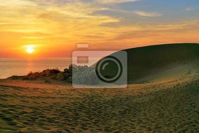 Wydmy piaszczyste na plaży Patara o zachodzie słońca. indyk