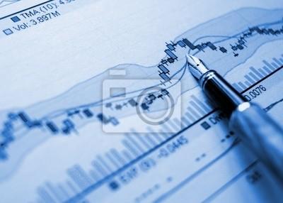 Fototapeta Wykres niebieskie tło finansowe