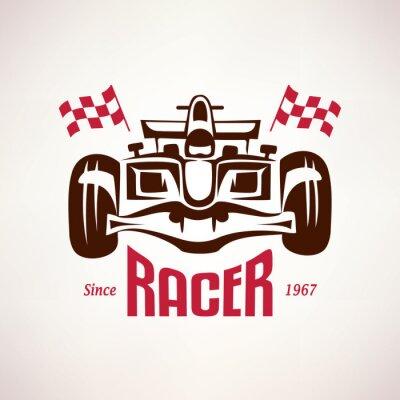 Fototapeta Wyścigi Formuły samochód godło, symbol wyścig bolid