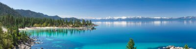 Fototapeta Wysoka rozdzielczość panorama jeziora Tahoe z widokiem na Port State Park Piasek