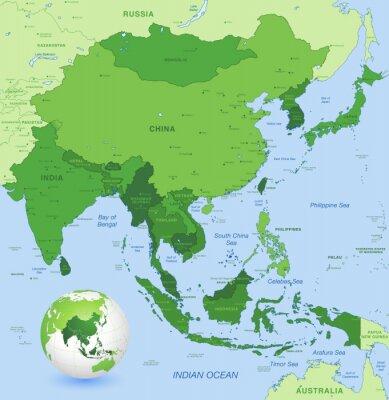 Fototapeta Wysoki szczegółów mapy wektorowe Dalekiego Azji Wschodniej