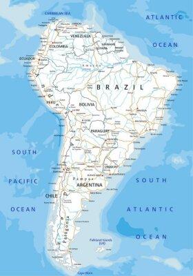 Fototapeta Wysokie szczegółowe Ameryka Południowa mapa drogowa z etykietowania.