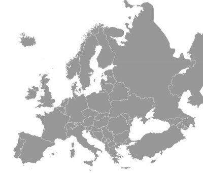 Fototapeta Wysokiej jakości mapa Europy z granicami regionów
