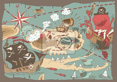 Fototapeta Wyspa Treasure Map (pirat mapa), ilustracji wektorowych