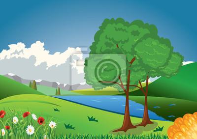 wzgórza z drzewami i jeziora