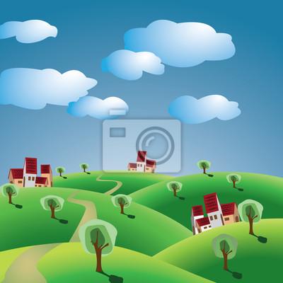 wzgórza z drzewami i wsi