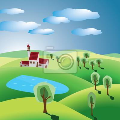 wzgórza z drzewami, wieś i jezioro