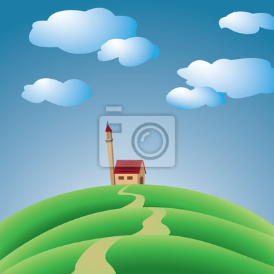 wzgórza z kościołem i niebo z chmurami