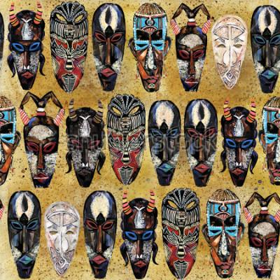 Fototapeta wzór afrykańskiej maski. ręcznie rysowane etniczne plemienny totem tło