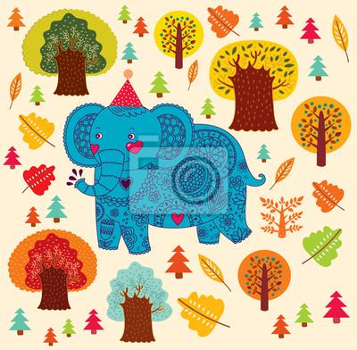 Fototapeta Wzór Cartoon słoń