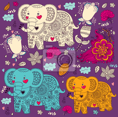 Fototapeta Wzór Cartoon ze słoniami