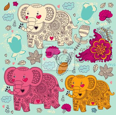 Wzór Cartoon ze słoniami