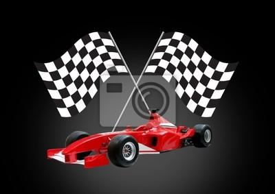 wzór czerwony jeden samochód i flag