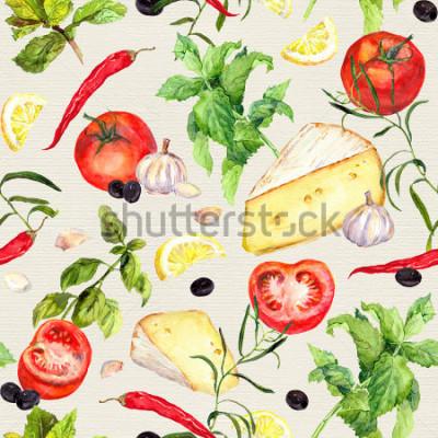 Fototapeta Wzór kuchenny z serem, pomidorami, czosnkiem, przyprawami i ziołami. Powtarzające się tło gotowania. Akwarela