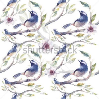Fototapeta Wzór kwiatów, gałęzi drzew, kwiatów i liści. Ręcznie malowane tapety szablon z niebieskimi ptakami na białym tle. Vintage naturalny tekstury