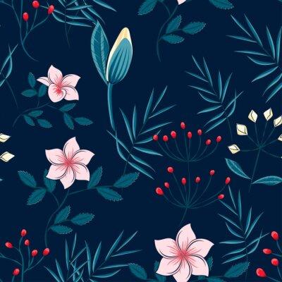 Fototapeta wzór liści palmy i kwiaty na ciemnym tle