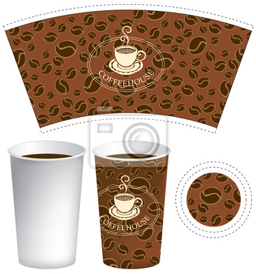 wzór na filiżankę kawy z teksturą ziarna
