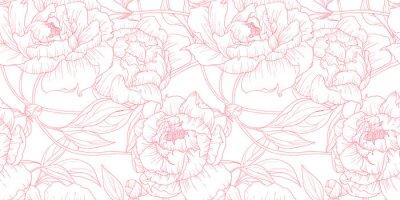Fototapeta Wzór, ręcznie rysowane kontur różowe kwiaty piwonii na białym tle