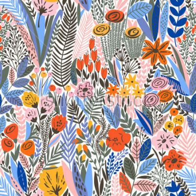 Fototapeta Wzór Tropikalny kwiatowy. Ilustracji wektorowych
