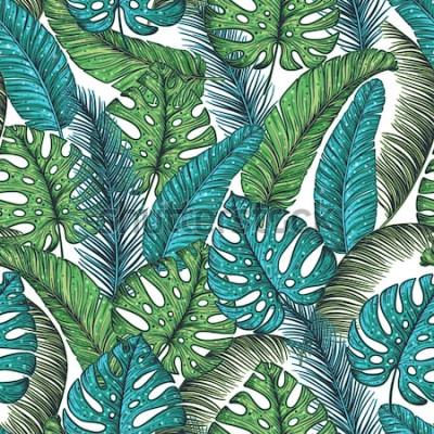 Fototapeta Wzór tropikalny liści palmowych. Wektorowi ilustracyjni liście palma. Wzór dżungli. Wydrukuj na szablonie tkaniny. Piękny design dla tekstyliów.