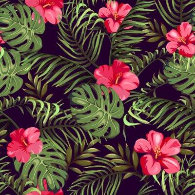 Fototapeta Wzór z egzotycznych kwiatów i liści. Rośliny tropikalne