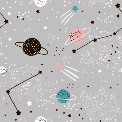 Fototapeta Wzór z gwiazdami, konstelacje, planety i ręcznie rysowane elementy. Dziecinna tekstura. Wielki dla tkaniny, tekstylna Wektorowa ilustracja