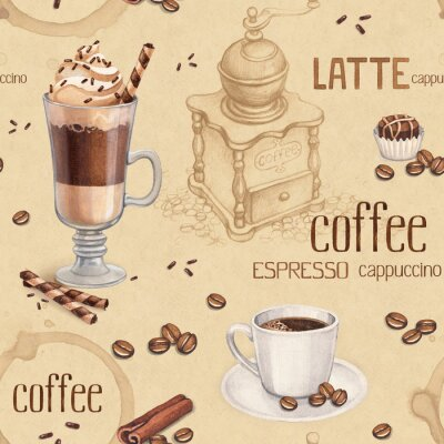 Fototapeta Wzór z ilustracjami filiżanki kawy i ziaren kawy