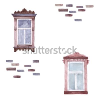 Fototapeta Wzór z oknami akwarelowymi. Wyciągnąć rękę.