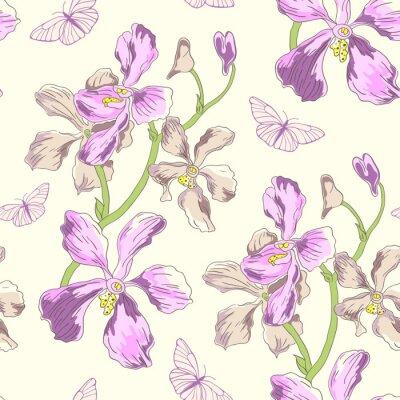 Fototapeta Wzór z orchidei i motyli