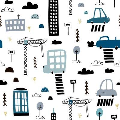 Fototapeta Wzór z ręcznie rysowane miasto wydruku. Wieżowiec kreskówka, samochody, znak drogowy, ilustracja wektorowa przejście dla pieszych. Idealny dla dzieci tkaniny, tekstylia, tapety przedszkola