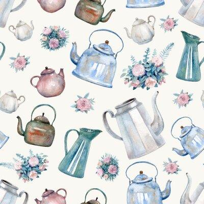 Fototapeta Wzór z rocznika czajniki, czajniki i bukiety róż malowane akwarela. Backfround herbaty do tkanin, tapety kuchenne, papier do pakowania prezentów, scrapbooking.