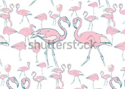 Fototapeta wzór z różowymi flamingami w wodzie w różnych pozach i dwoma flamingami z szyją w kształcie serca
