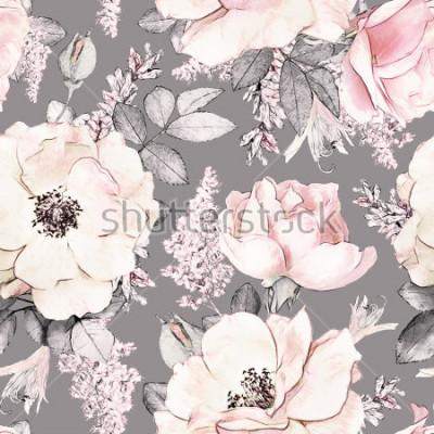 Fototapeta Wzór z różowymi kwiatami i liśćmi na szarym tle, kwiat wzrastał w pastelowym kolorze, tileable dla tapet, karty lub tkaniny,.