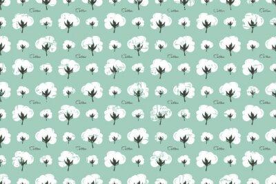 Fototapeta wzór z wizerunkiem kwiatu bawełny. bezszwowy.